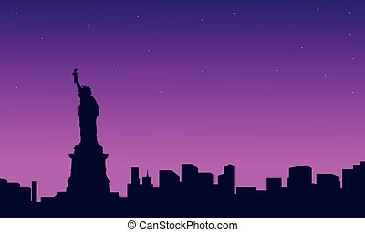 Silhouette of liberty with building scenery