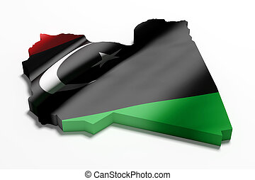 Silhouette of Libya map with flag