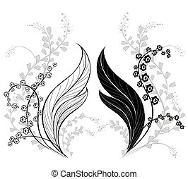 silhouette of lily of the valley - silhouette of two,...
