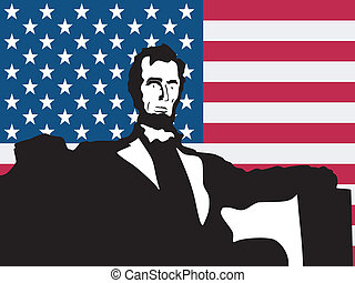 silhouette of Lincoln Memorial on United States of America flag
