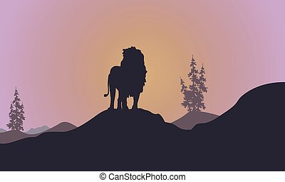 Silhouette of Lion at afternoon landscape
