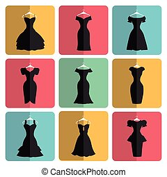 Silhouette of little black party dresses icons