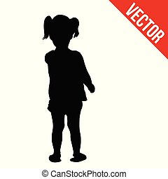 Silhouette of little girl on white background