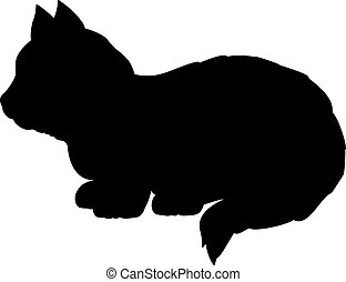 Silhouette of little kitten. Cute young pet animal.
