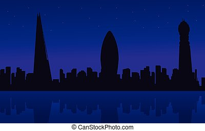 Silhouette of London city building scenery