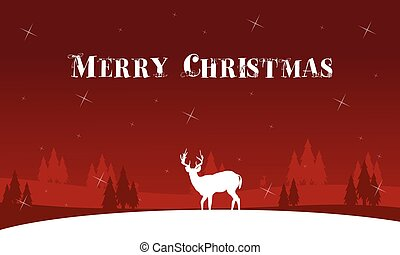 Silhouette of lonely deer landscape winter Christmas vector