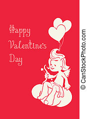 silhouette of loughing cupid with bow and arrow - Background...