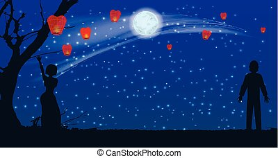 silhouette of lovers let the sky lanterns