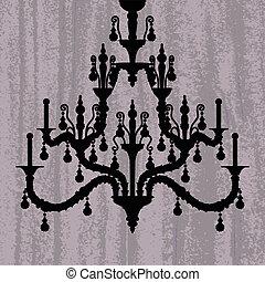 silhouette of luxury chandelier