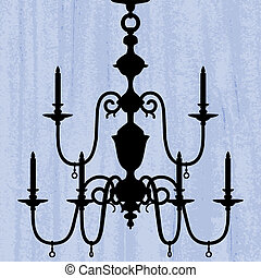 silhouette of luxury chandelier