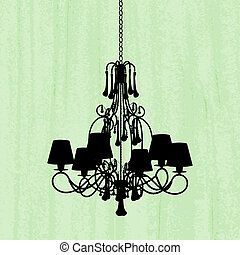 silhouette of luxury chandelier on a scratched green...