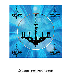 silhouette of luxury chandeliers wi