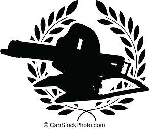 silhouette of machine gun and laure