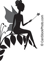 Vector silhouette of magic fairy with a magic wand