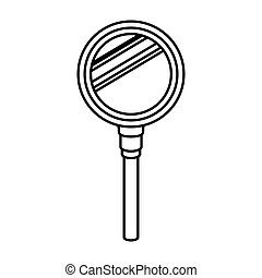 silhouette of magnifying glass with white background