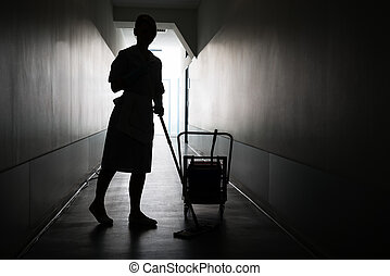 Silhouette Of Maid Cleaning Floor - Silhouette Of Female...