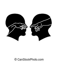 Silhouette of male faces with hands