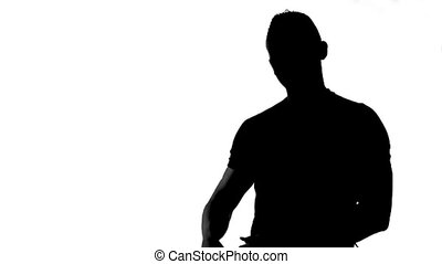 Silhouette of man advertising something
