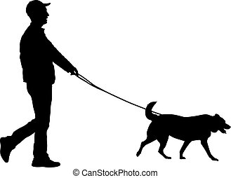 silhouette of a couple walking their dog on sunset vector