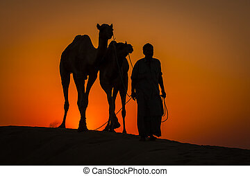 Silhouette of man and two camels at colorful sunset in Thar desert near Jaisalmer, Rajasthan, India