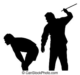 Silhouette of man applying corporal punishment on teenage boy