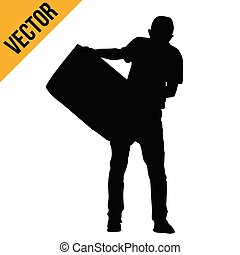 Silhouette of man carrying a box