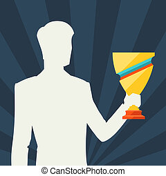 Silhouette of man holding prize cup.