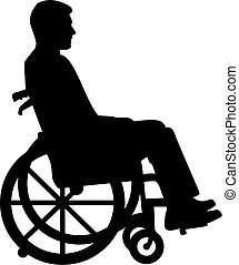 Silhouette of man in a wheelchair