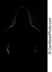Silhouette of man in black