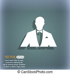 Silhouette  of man in business suit icon. On the blue-green abstract background with shadow and space for your text. Vector