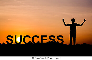 Silhouette of man on sunset with success, business concept