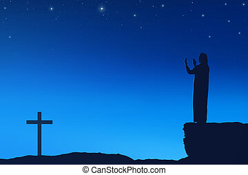 Silhouette of man praying to god with cross shape