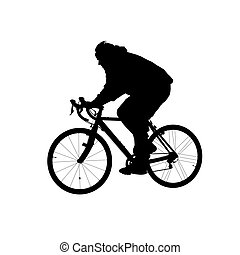 Silhouette of man riding on a bicycle