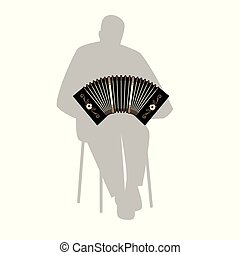 Silhouette of man sitting on a chair playing the bandoneon