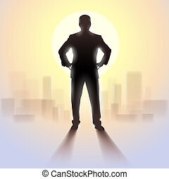Silhouette of man standing in sunlight. - Black silhouette...