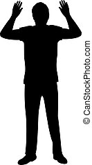 Silhouette of man surrenders with raised arms