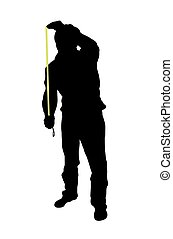 measure - Silhouette of man using tape measure over a white...