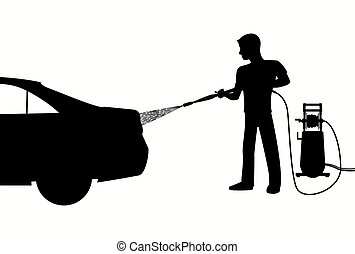 Silhouette of Man washing a car with high pressure washer....