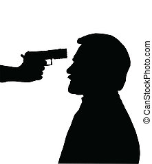 Silhouette of Man with gun against head - Silhouette of man...