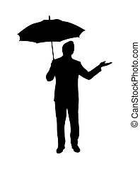 Silhouette of man with umbrella, flat design.