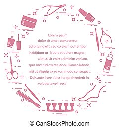 Silhouette of manicure and pedicure tools and products for beauty and care.