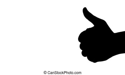 Silhouette of man's hand giving thumb up on white background.