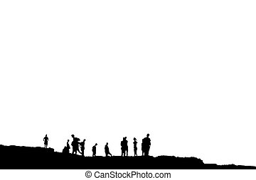 silhouette of many people on peak with clipping path
