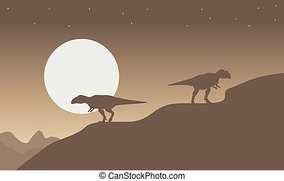 Silhouette of mapusaurus with big moon scenery