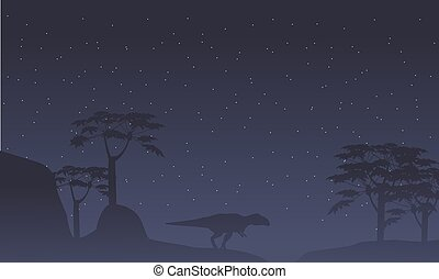 Silhouette of mapusaurus with tree scenery