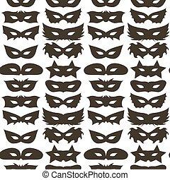 Silhouette of Masks Seamless Pattern