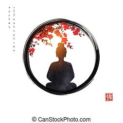 Silhouette of meditating Buddha and sakura tree in blossom in black enso zen circle. Traditional Japanese ink wash painting sumi-e. Hieroglyph - Buddha.