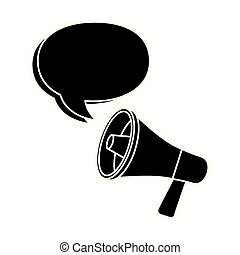 silhouette of megaphone with speech bubble isolated icon