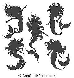 Silhouette of mermaid set