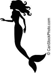 Silhouette of mermaid